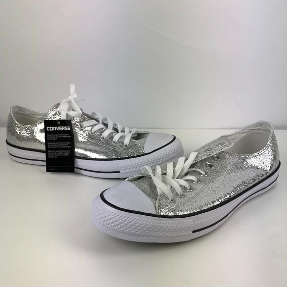 644786c780e Converse Shoes - NEW!! Converse Silver Glitter Lo Top Chuck Taylor